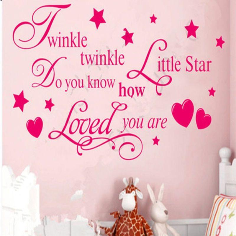 Twinkle Little Star Kids Baby Nursery Room Vinyl Wall Decal Quote ...