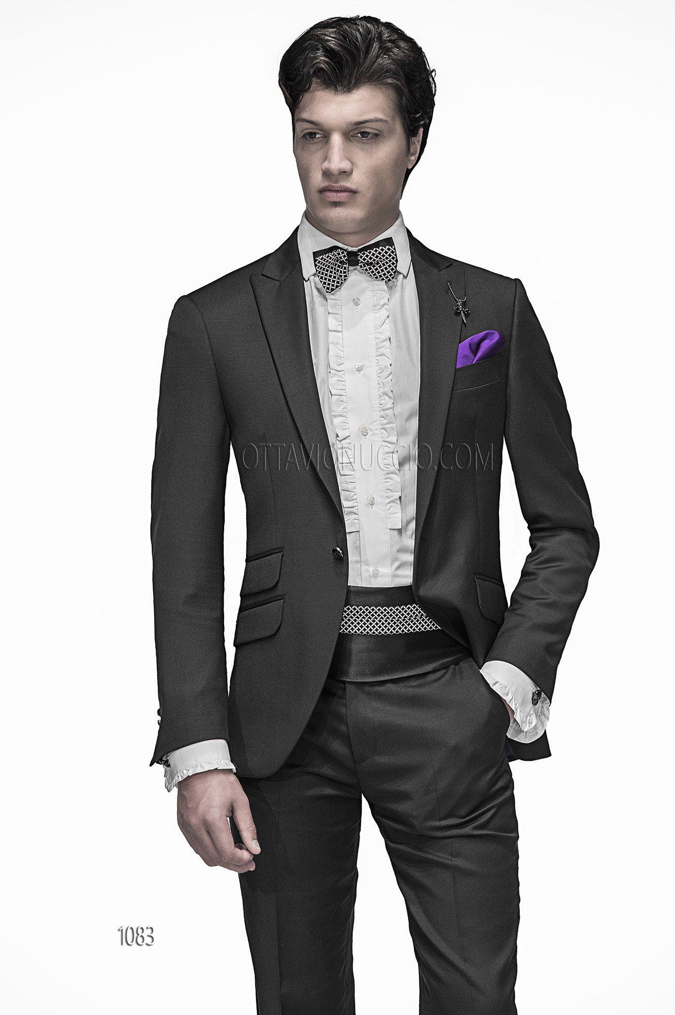 705fc3fbbdc5 Abito da cerimonia uomo in pura lana nero con fascia e papillon   Black  Pure Wool Groom Suits   Trajes de novio italianos en pura lana negro