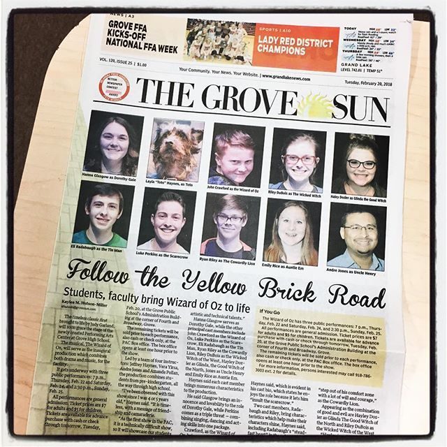0b51ecf42253 Follow the Yellow Brick Road...pick up todays issue of the Grove Sun to  learn more about the cast and this weeks inaugural production at the Grove  High ...