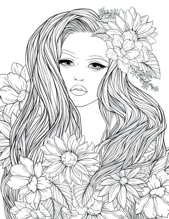 graphic regarding Free Printable Coloring Pages for Adults Pdf identify Grownup Coloring Webpage Female Bouquets Electronic Coloring webpage