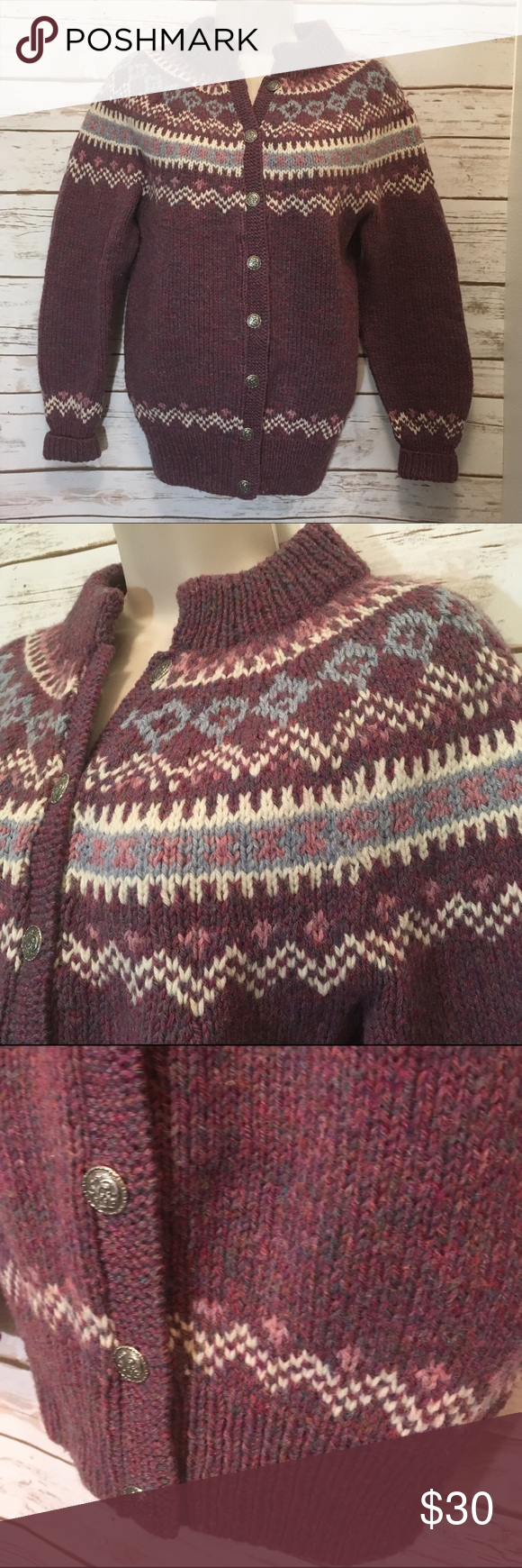 Pure wool sweater made in Denmark purple Beautiful like new wool sweater made in Denmark in purple with pink and multi accents. Pretty silver button closure! Very warm, wear as a early spring or fall jacket 💓 Sweaters
