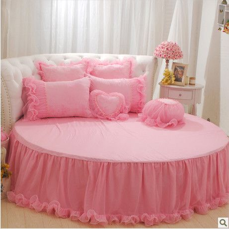 Aliexpress.com : Buy ROUND BED 4pc/6pc pink king size princess bedding  Korean style lace bed skirt new arrival girl bedding s…   Round bed, Circle  bed, Pink bedding