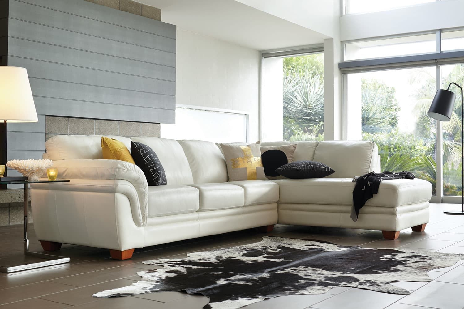 Demi 3 Seater Leather Lounge with Chaise by La-Z-Boy | Harvey Norman ...