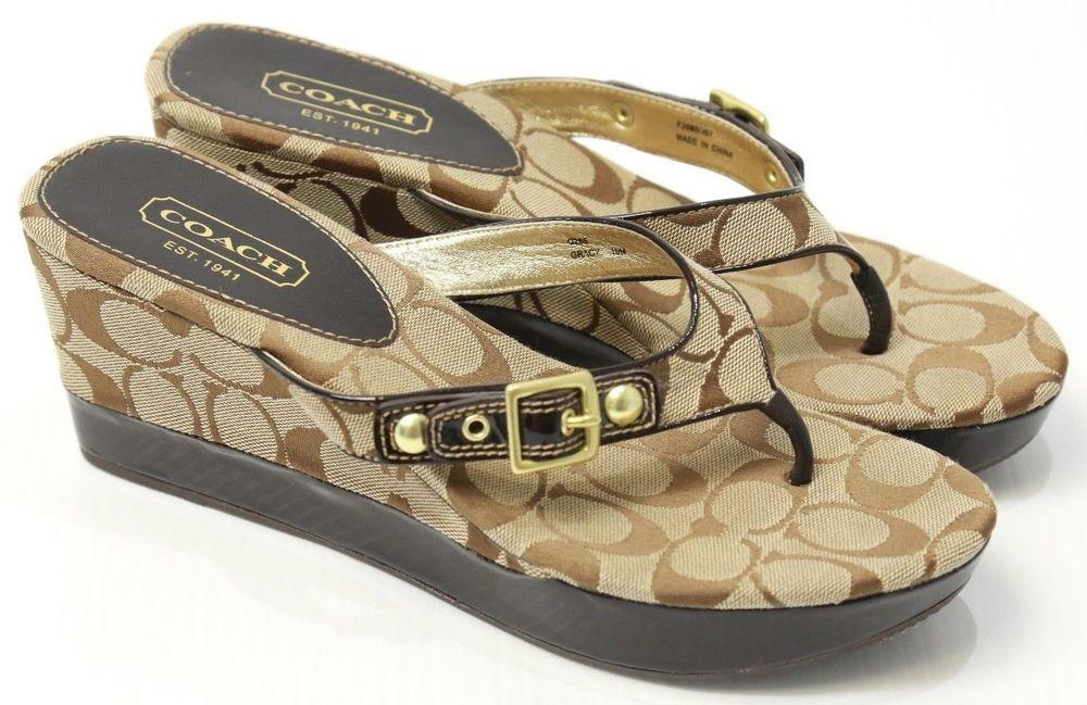 6e62200c27 Women's Coach Slip On Wedge Sandals Buckle Gracy Signature
