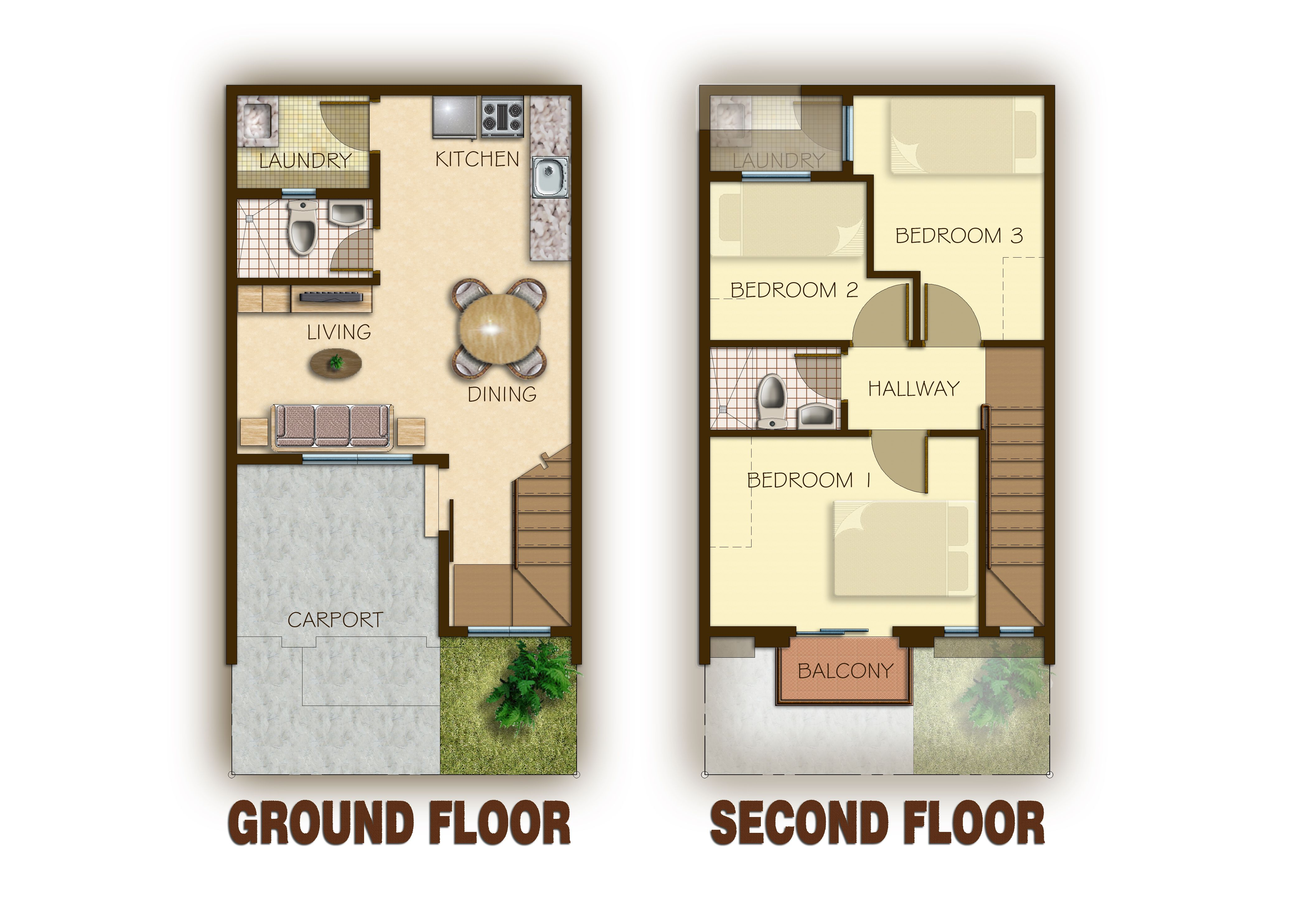 Floor Plans Garage Story Townhouse 2 Storey House Design House Plans Two Story House Design