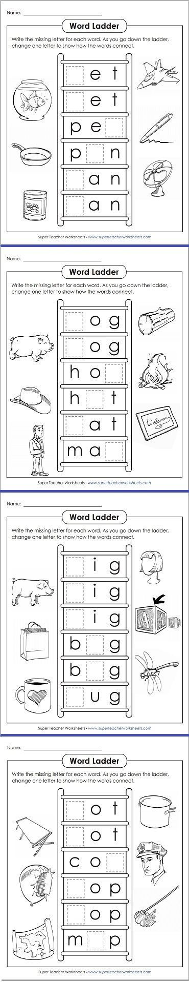 Take a look at these fun word ladders for phonics practice ...