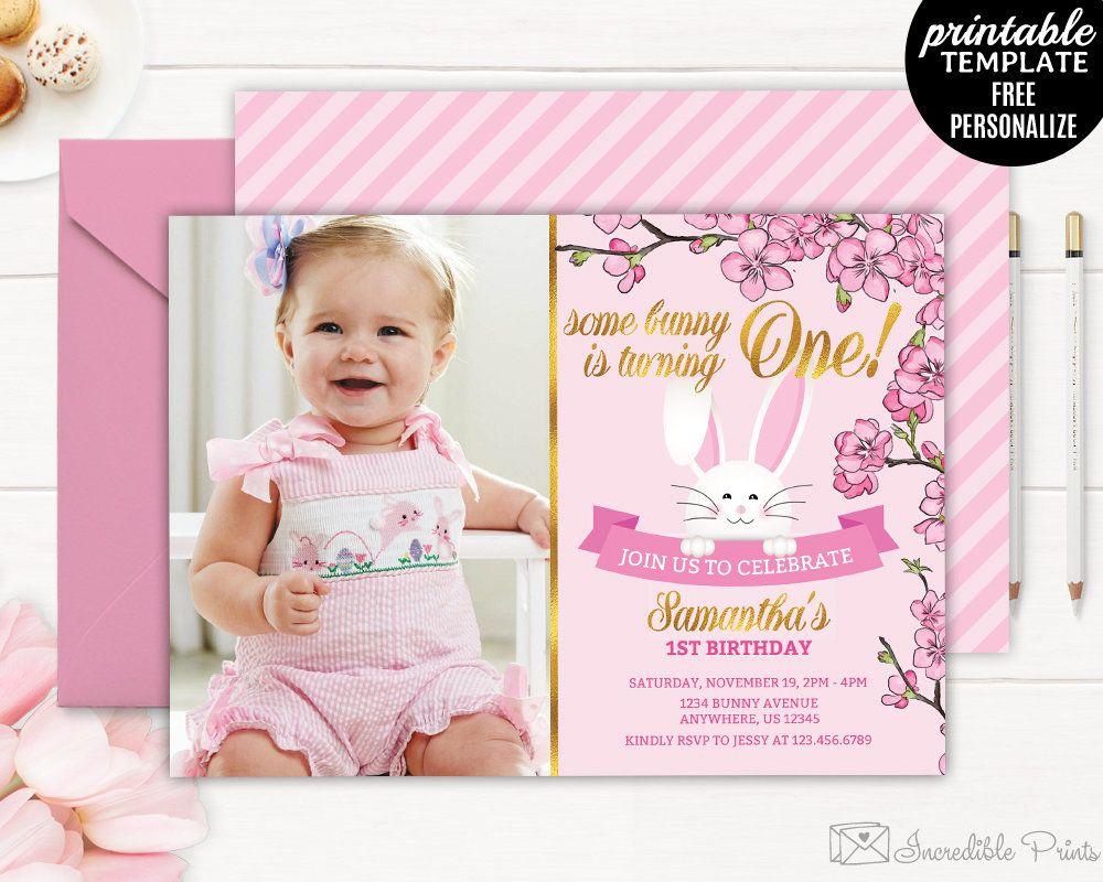 First Girl Birthday Invitation template. Bunny First Birthday ...