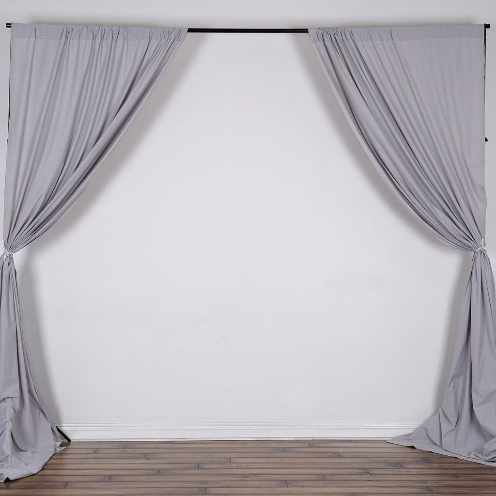 10ft Silver Polyester Curtain Stage Backdrop Partition Premium Collection Panel Curtains Curtains Drape Panel