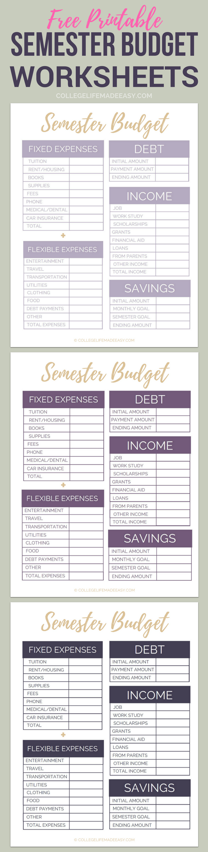 Free Printable College Semester Budget Worksheets