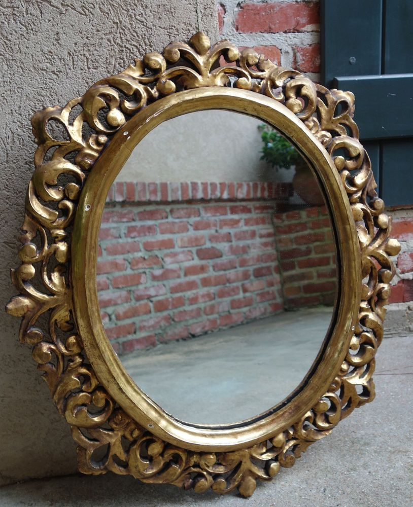 Antique french carved wood gold gilt frame wall mirror gesso louis antique french carved wood gold gilt frame wall mirror gesso louis xv round b artdeco jeuxipadfo Image collections
