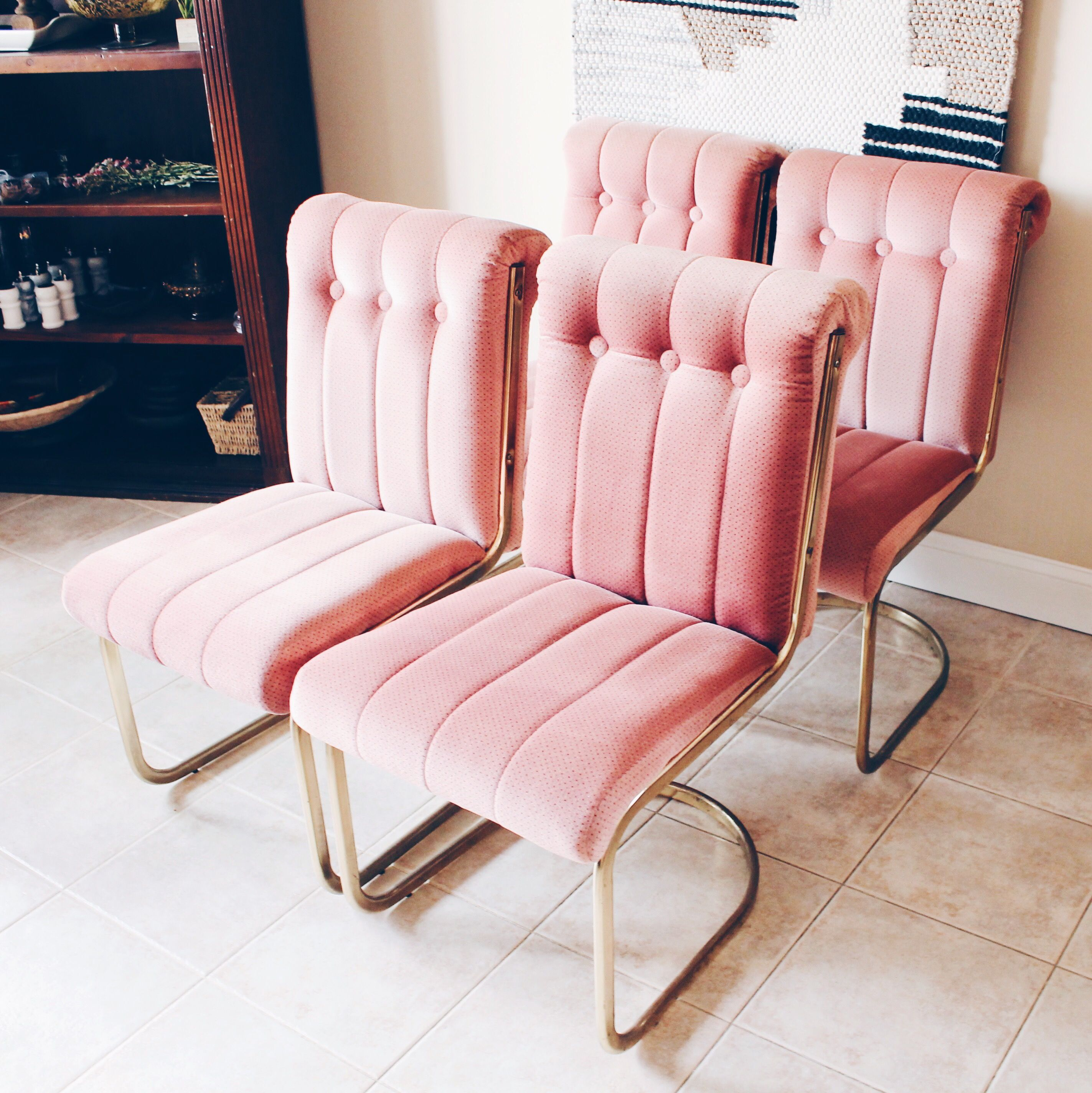 pink dining room chairs replacement slings for winston patio brass cantilever vintage