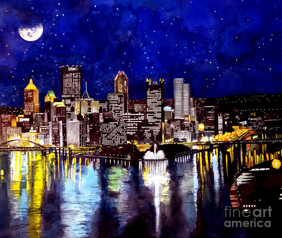 City Of Pittsburgh Pennsylvania By Christopher Shellhammer City Painting Pittsburgh City Cityscape Art