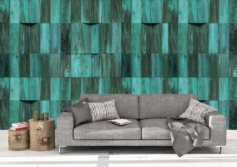 Teal Reclaimed Wood Wallpaper Decal Wall Art Bedroom Decor