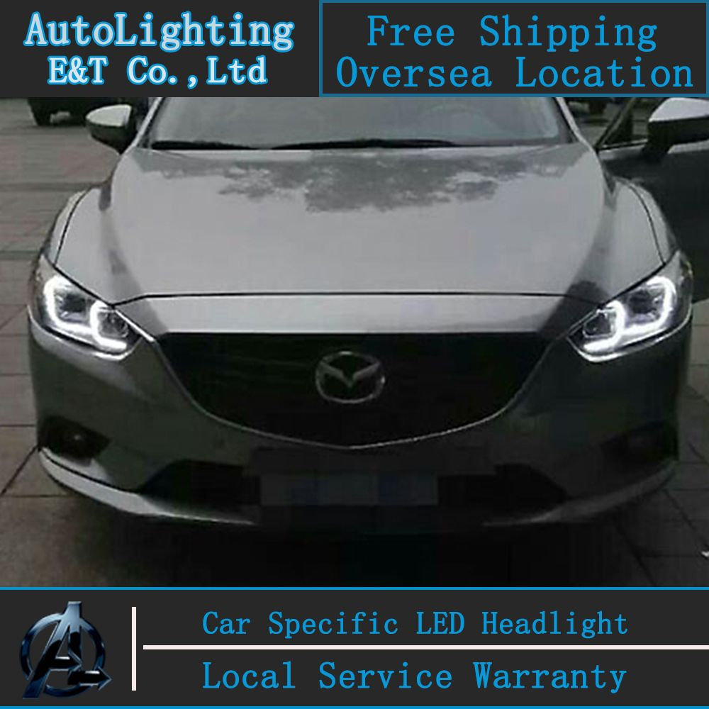 car styling head lamp for mazda 6 led headlights 2014 2015 new mazda6 angel eye led drl h7 hid bi xenon lens low beam [ 1000 x 1000 Pixel ]