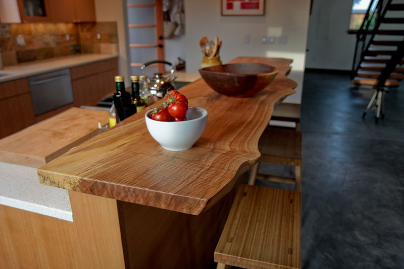 Collinge Residence   Live Edge Spalted Maple Bartop