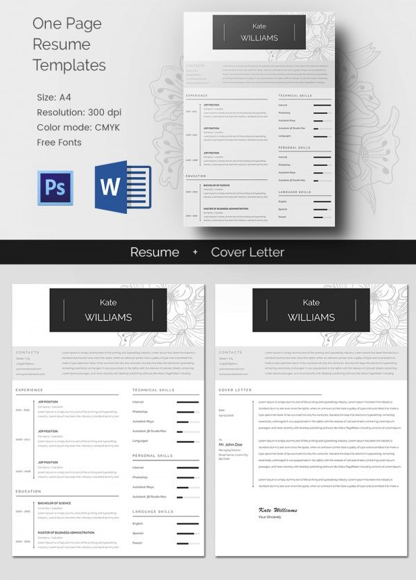 One Page Resume Template , Mac Resume Template u2013 Great for More - single page resume format download