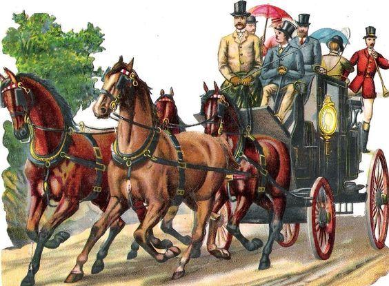 Oblaten Glanzbild scrap die cut chromo Kutsche 15,5cm coach Pferd horse carriage: