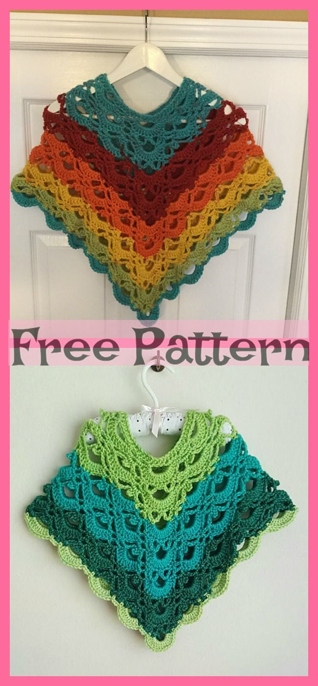 Crochet Child Poncho - Free Pattern #crochetponchokids