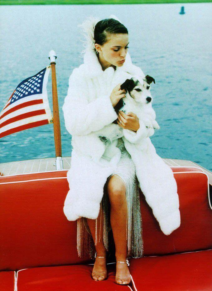 Nathalie Portman & Noodles - her Poodle/Schnauzer mix.