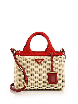 66e2a7ba6c45 Prada Wicker   Canvas Tote