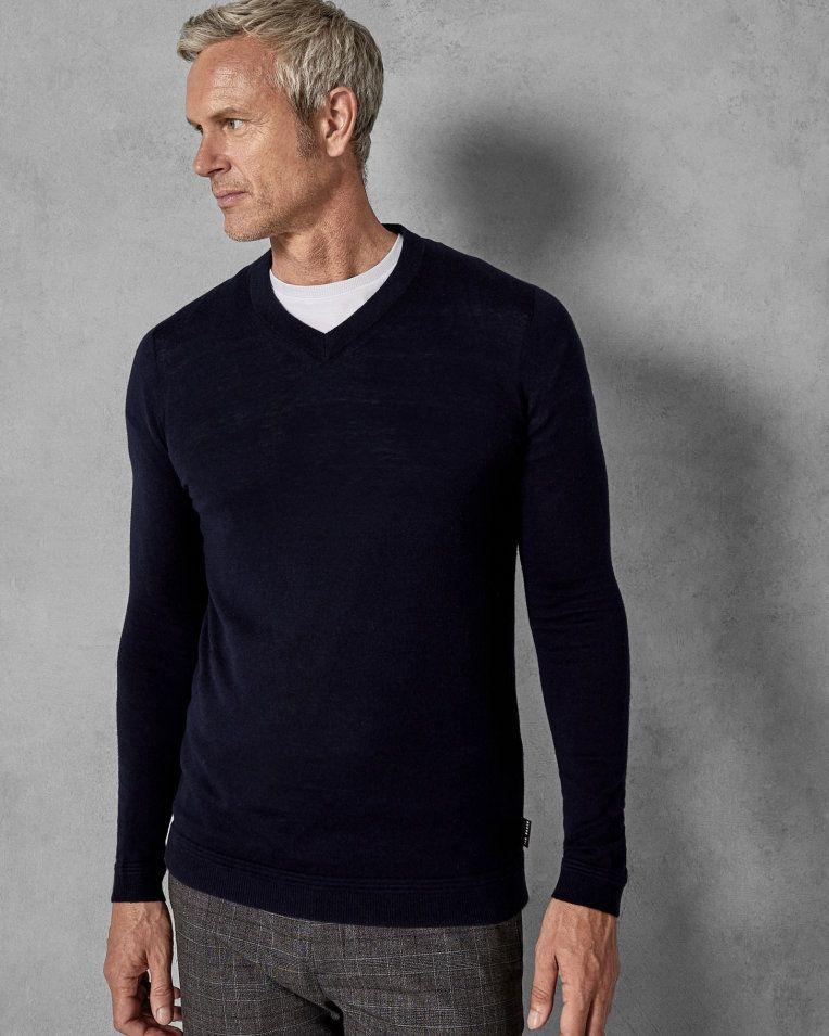 683672d7694cdf Tall V-neck wool jumper - Navy
