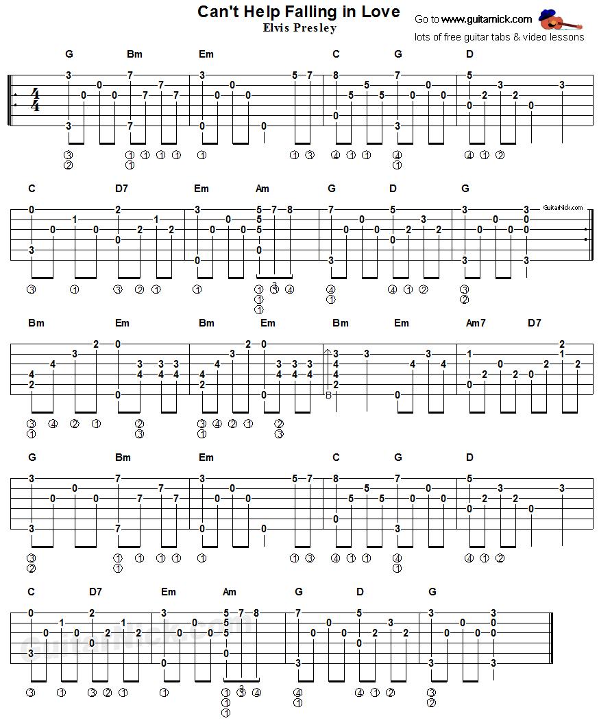 can't help falling in love, elvis presley - acoustic fingerstyle