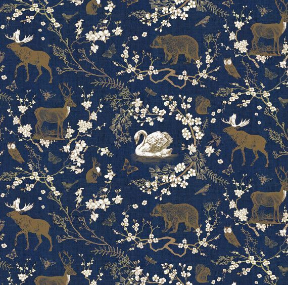 Navy Woodland Fabric Spring Toile Navy Gold By