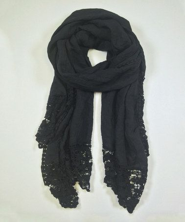 Another great find on #zulily! Black Crochet Trim Scarf by East Cloud #zulilyfinds