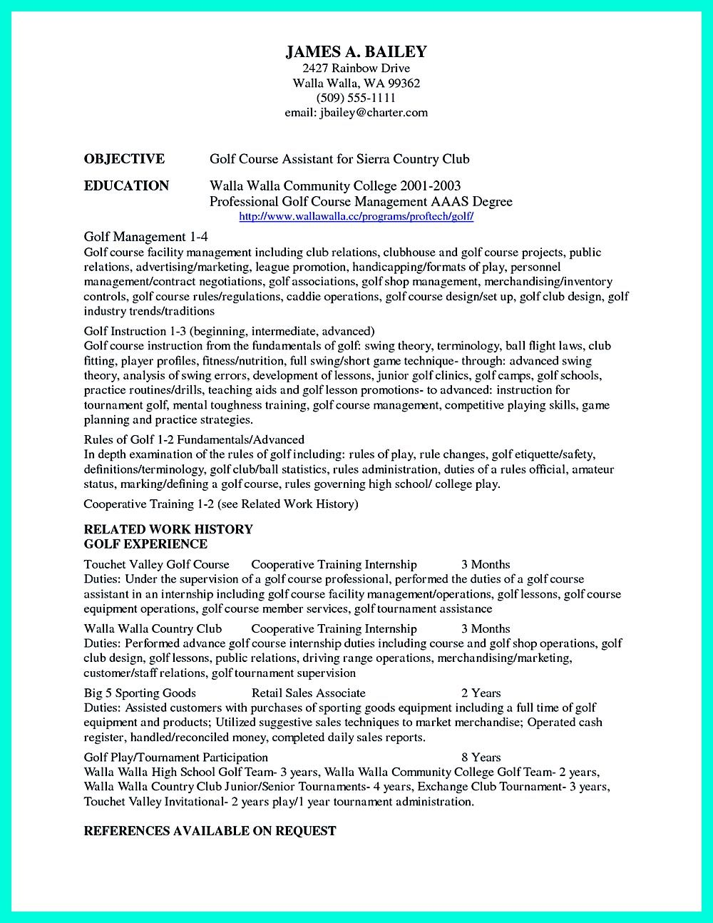 Making Simple College Golf Resume With Basic But Effective Information