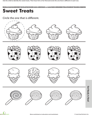 Find the One That\'s Different: Sweet Treats | Worksheets, Math and ...