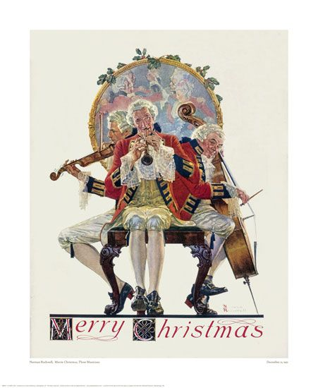 Norman Rockwell  Merrie Christmas, Three Musicians