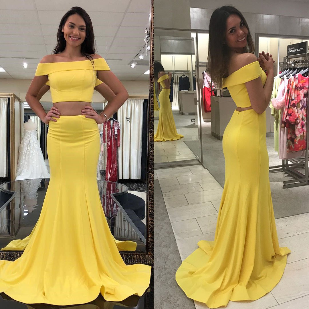 Two piece off the shoulder yellow mermaid long prom dress