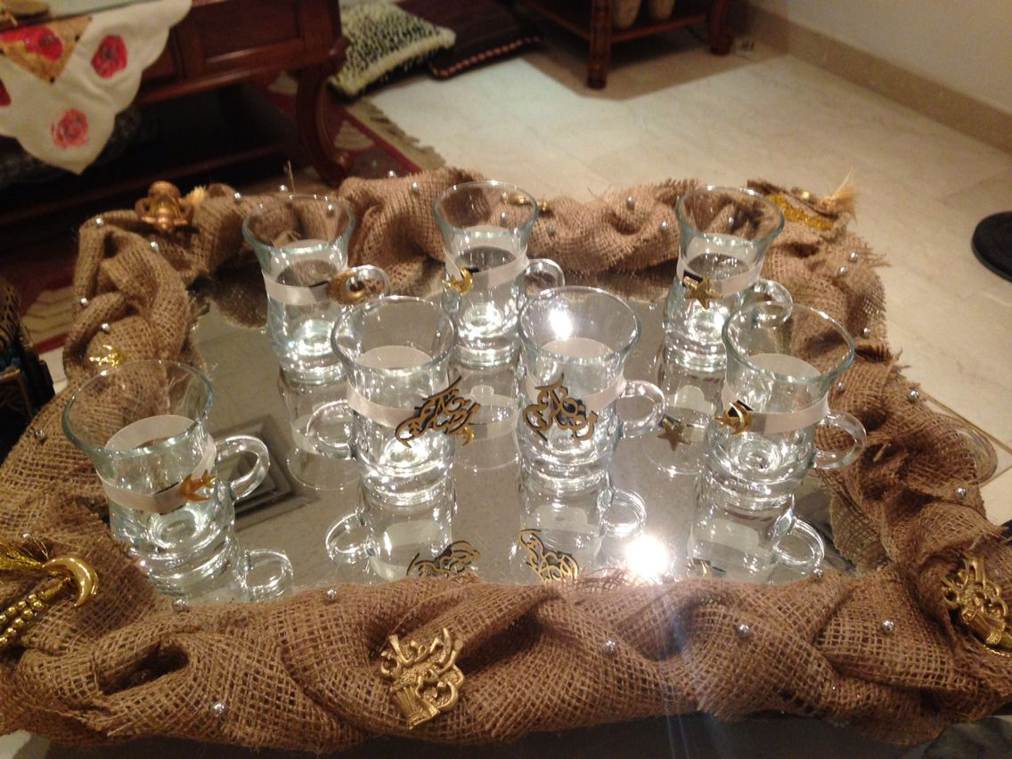 زينه رمضان صينيه الشاي و كاساته Ramadan Decorations Ramadan Crafts Eid Decoration