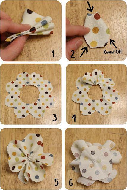 Manualidades Vendibles.Polkadot Flower Tutorial Manualidades Vendibles Fabric Flower
