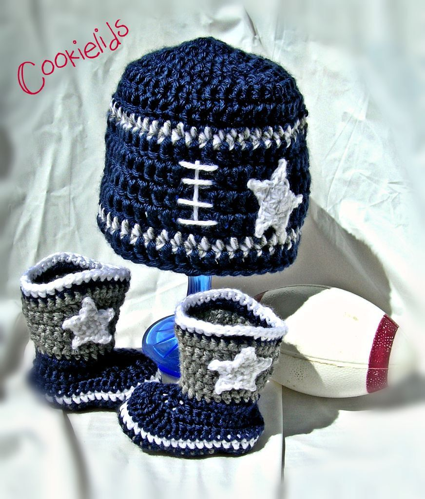 Crochet Dallas Cowboy infant football set by CookieLids on Etsy ... 098fdac8f539