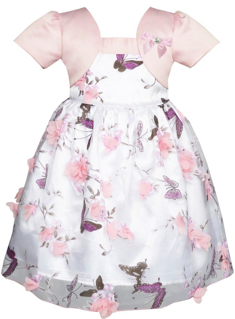 8ab888980 2-in-1 Flower Girls Dress Dimensional Butterfly Pageant Party Size ...