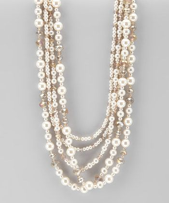 White & Champagne Mixed Pearl Necklace