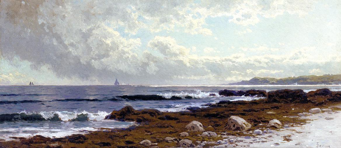 Le long de la côte, huile de Alfred Thompson Bricher (1837-1908, United States)