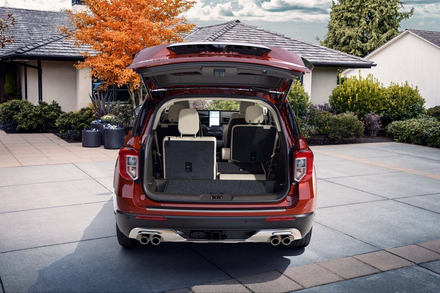 Rear Cargo Area Of Ford Explorer Shown With Liftgate Open In