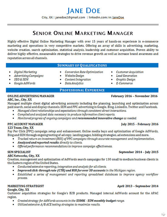 Online Marketing Marketing Resume Good Resume Examples Resume Examples