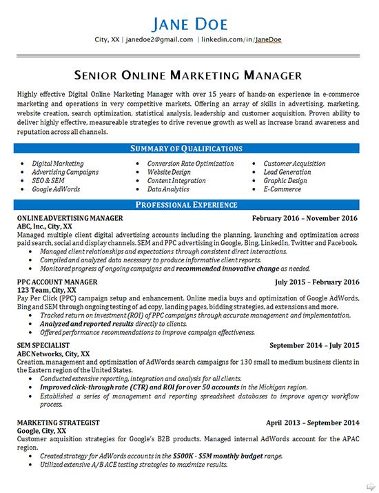 online marketing resume example