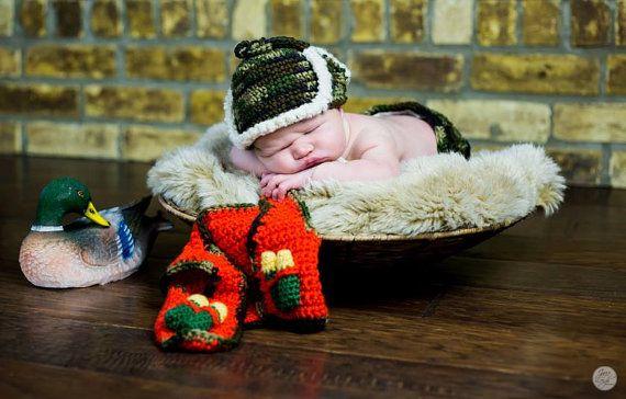 Newborn Hunting Hat and Vest by MadhatterknitsCo on Etsy, $35.00