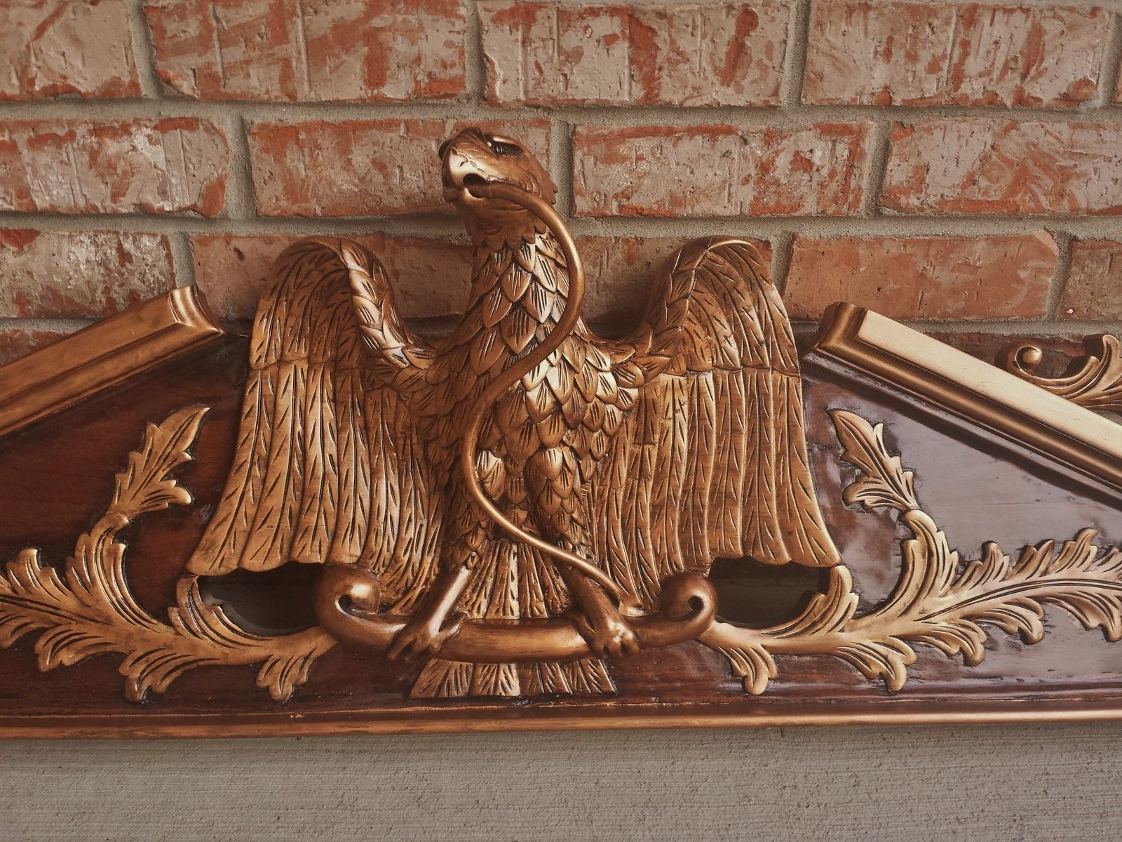"""ARCHITECTURAL SALVAGED EAGLE GILT MAHOGANY FIREPLACE MANTEL PEDIMENT CROWN 50"""" in Antiques, Architectural & Garden, Fireplaces & Mantels 