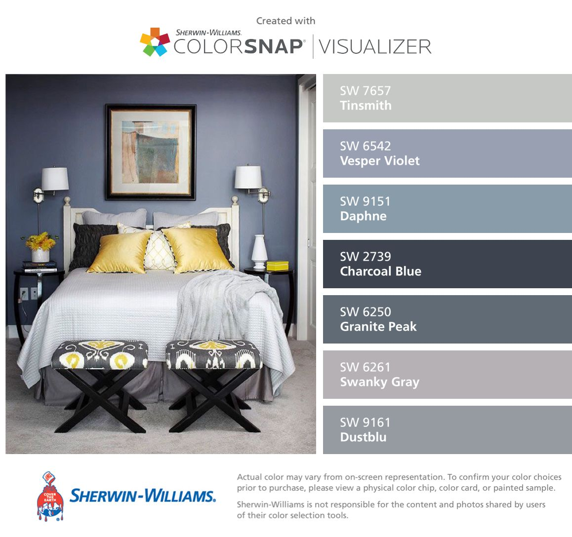 I found these colors with colorsnap visualizer for iphone for Sherwin williams lavender gray