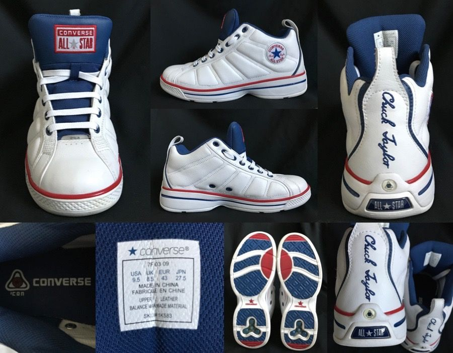 dbb02074845c 1990 s Vintage CONVERSE ALL STAR CHUCK TAYLOR 2000 2K4 SKU 1K583 Icon Sole  White Red Navy Blue Leather Lows Lace Up Trainers Mens Size UK 8.5 8 1 2 EU  43