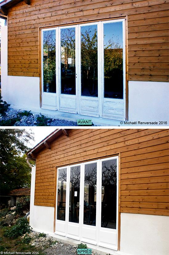 rnovation de portes fentres bois application de nouveaux bain de mastic et application de 3