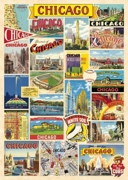 Poster Print With Hanging Kit - Chicago Collage 1