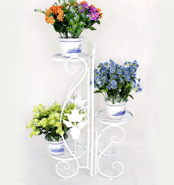 25c5e60b2ff3 3 Niveaux Porte Plante, Décoratif Fleur Étagère en fer forgé, Etagere de  jardin, Blanc  Amazon.fr  Cuisine   Maison