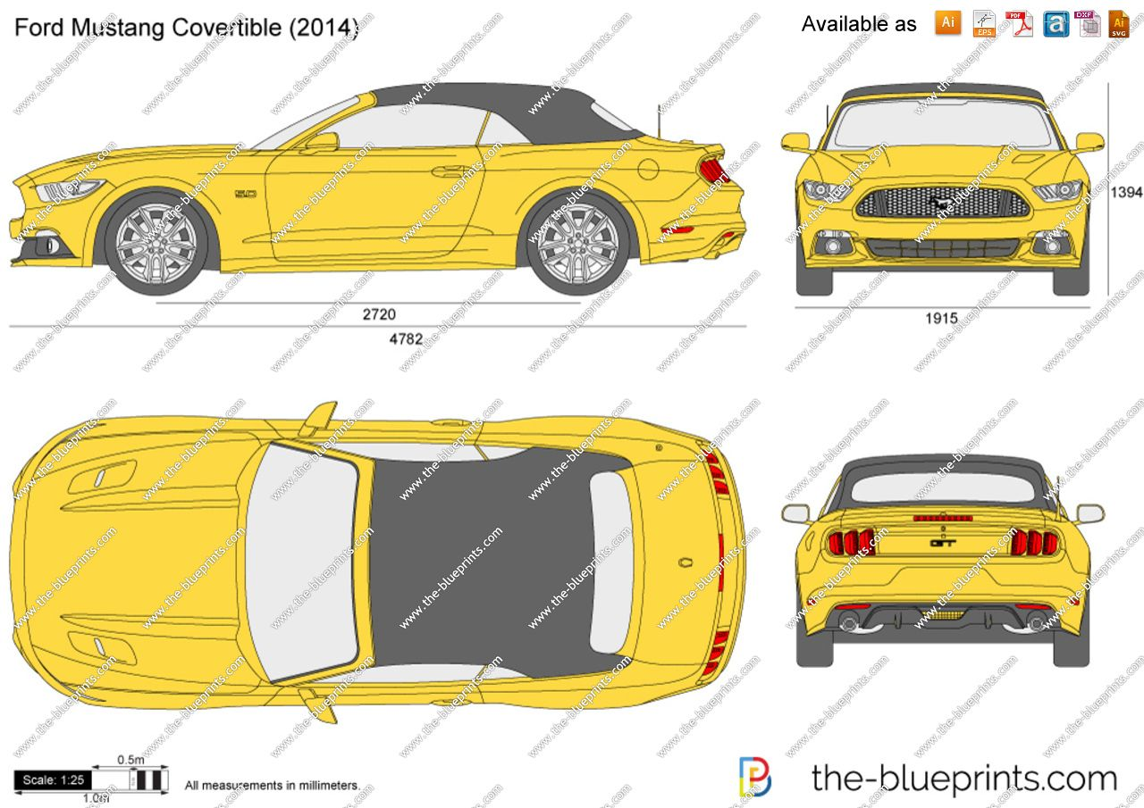 The Blueprints Com Vector Drawing Ford Mustang Convertible