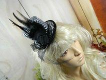 Minizylinder Hütchen schwarz weiß Streifen Gothic